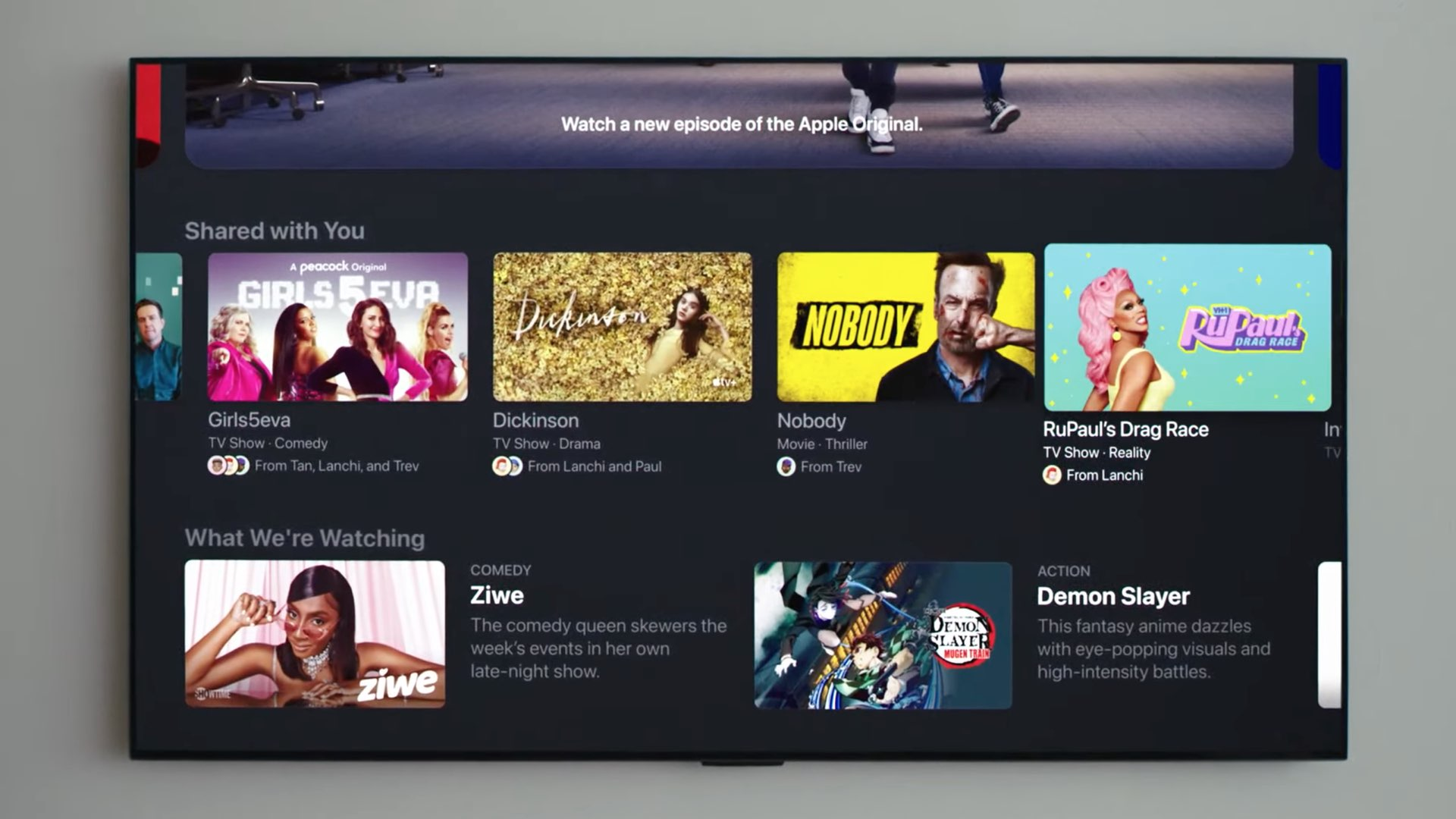 """An image showing the Apple TV app on tvOS 15 with the """"Shared with You"""" section in the For You tab"""
