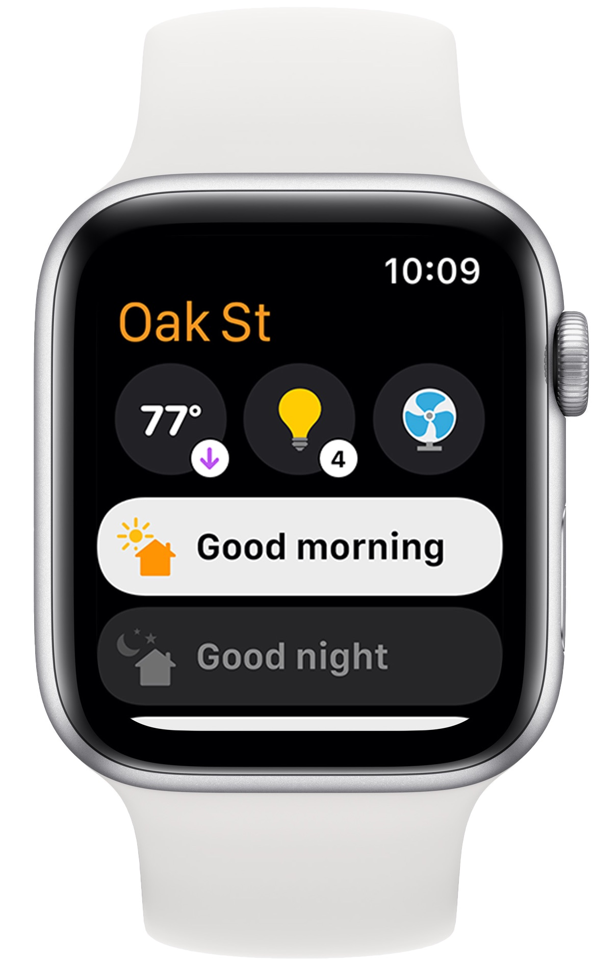 The redesigned Home app on watchOS 8 shown running on Apple Watch, showing convenient access to HomeKit scenes and accessories