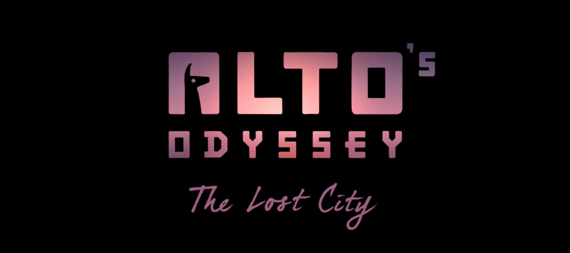 A logo for the game Alto's Odyssey: The Lost City set against a black background