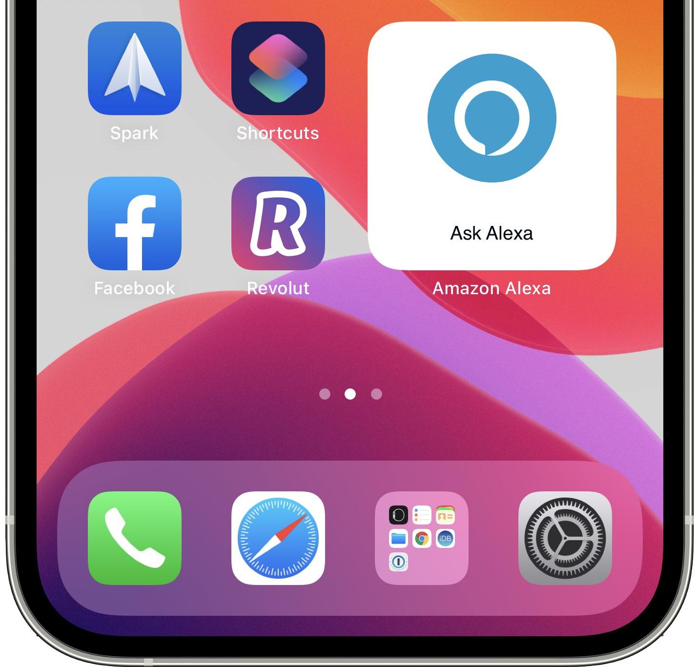 A screenshot showing Amazon's Ask Alexa widget on iPhone's home screen