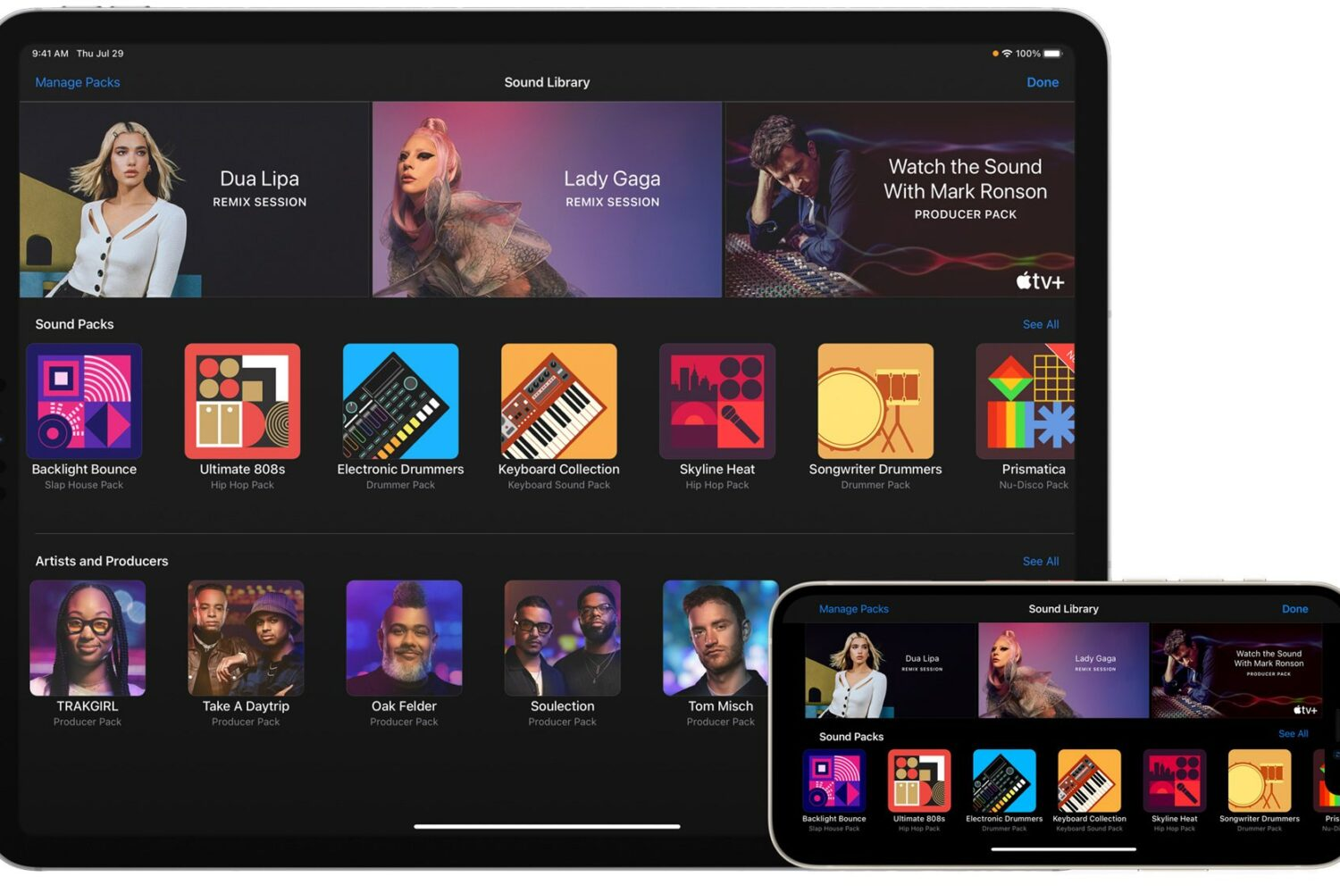 An image showing Appel GarageBand on iPhone and iPad with July 2021 sound packs from Dua Lipa, Lady Gaga and other music producers
