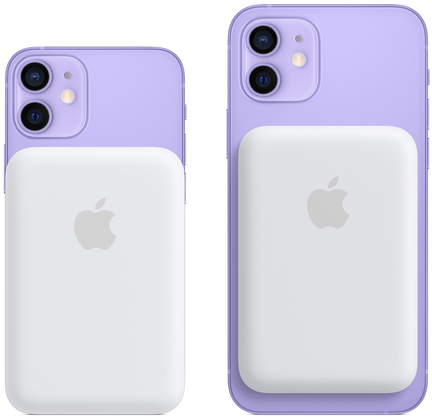 Promotional graphics showing the back of iPhone 12 mini and iPhone 12 in purple with Apple MagSafe Battery Pack attached magnetically on the back