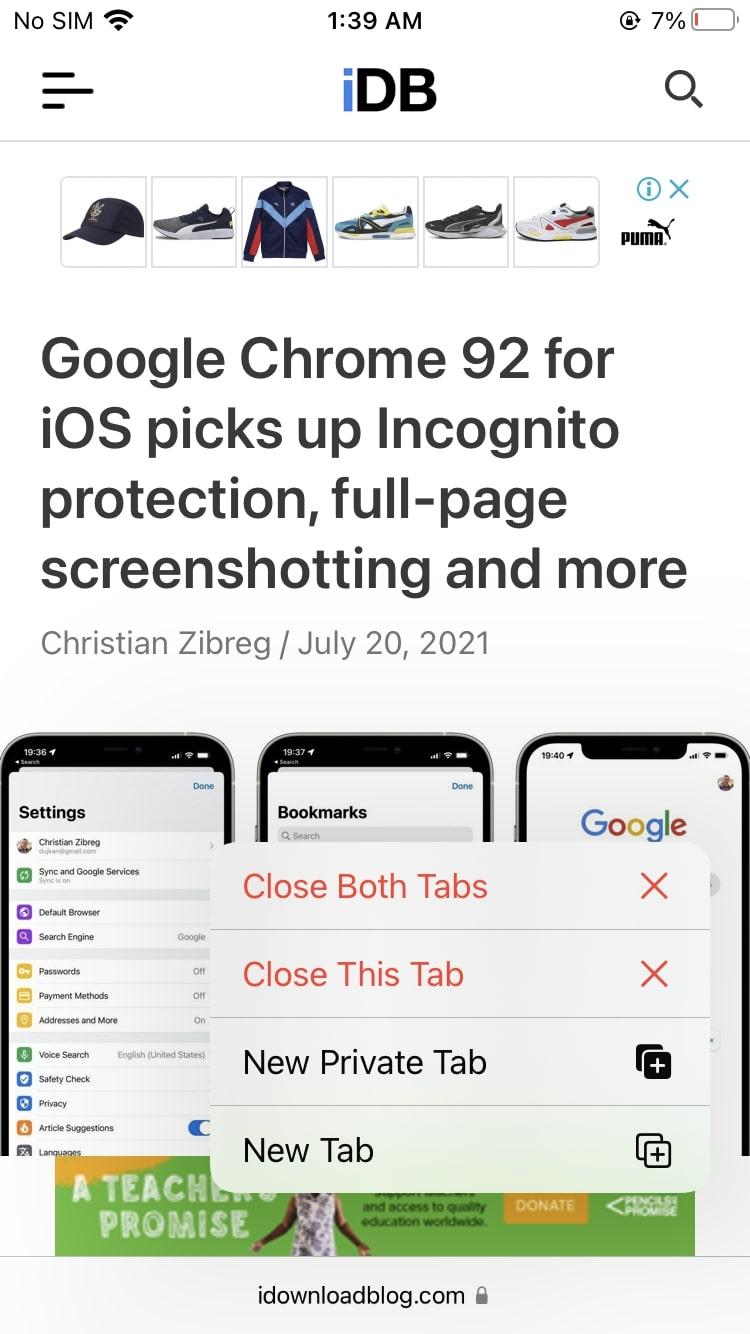 Close all tabs in a group Safari