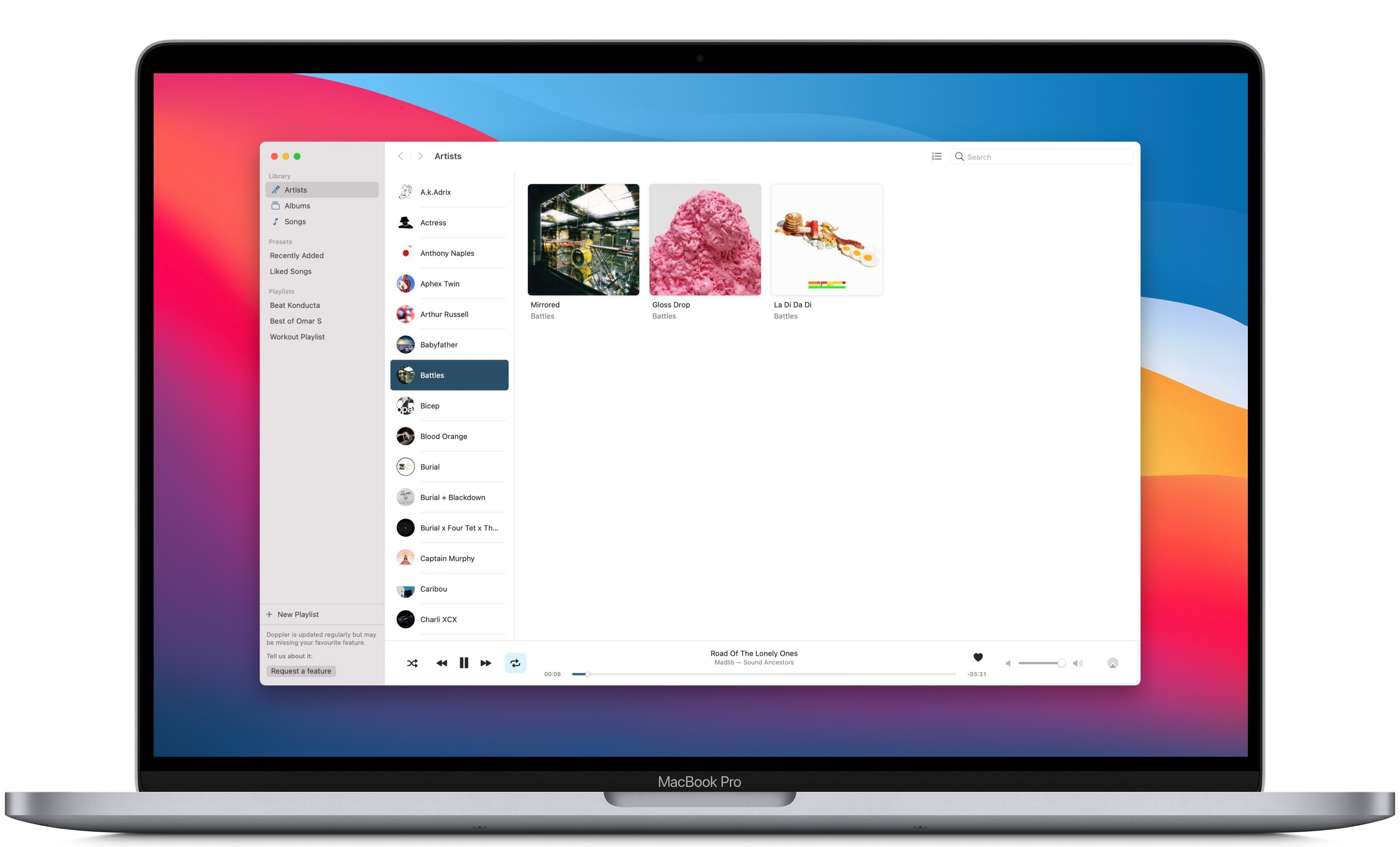 Doppler for Mac: artist view