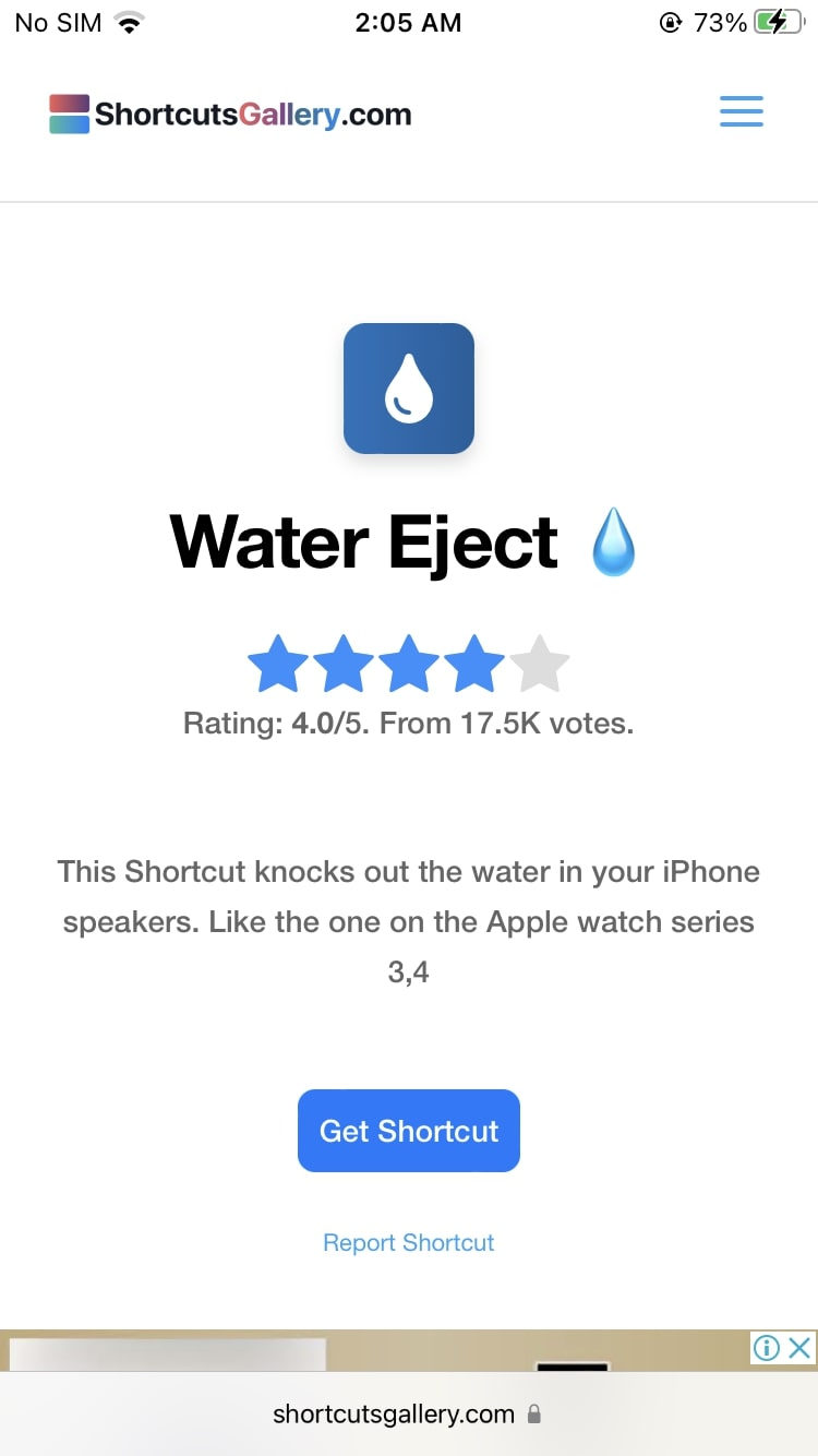 Download Water Eject Shortcut