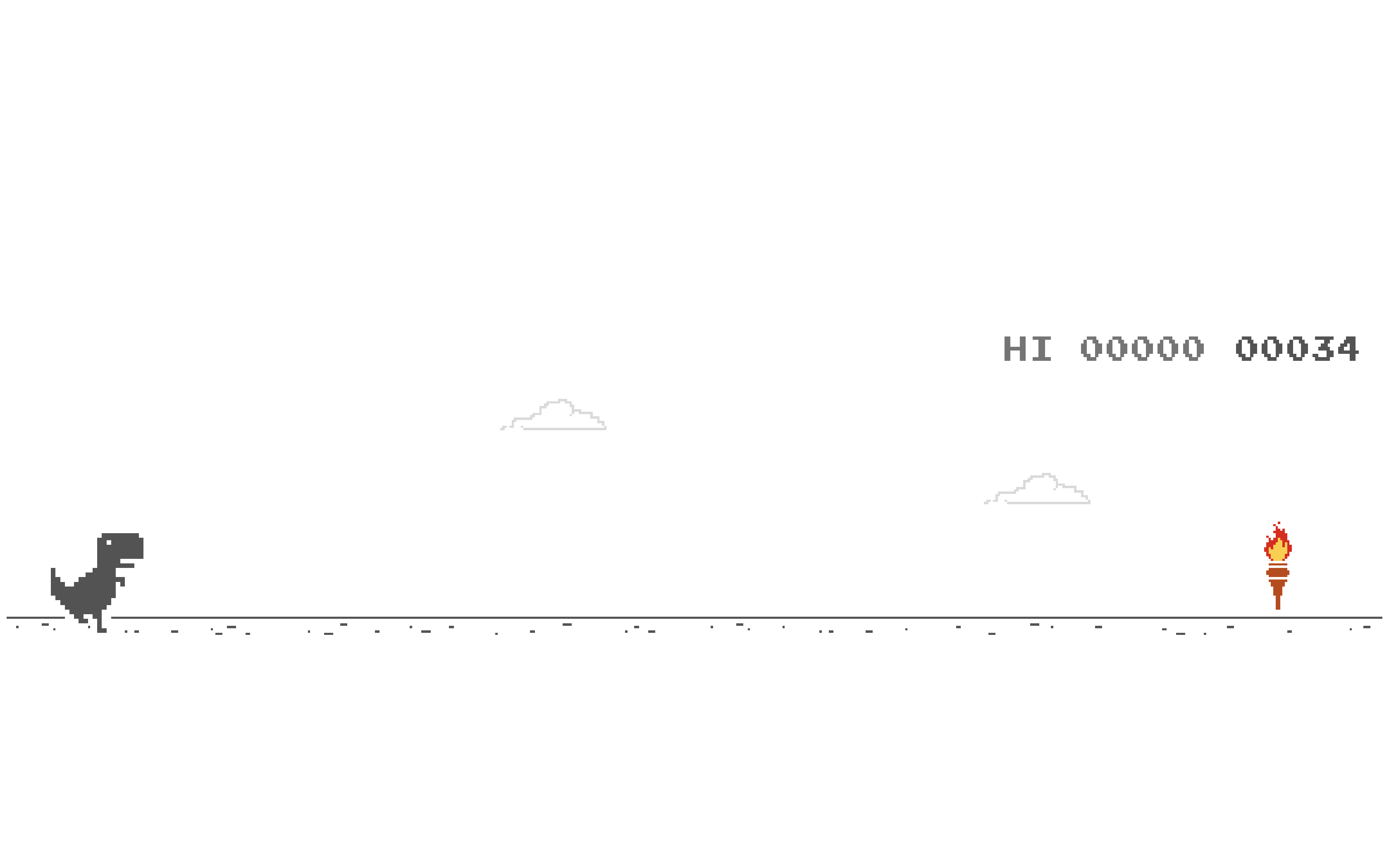 A Mac screenshot of Google Chrome's dinosaur game showing. torch that enables Olympic mode