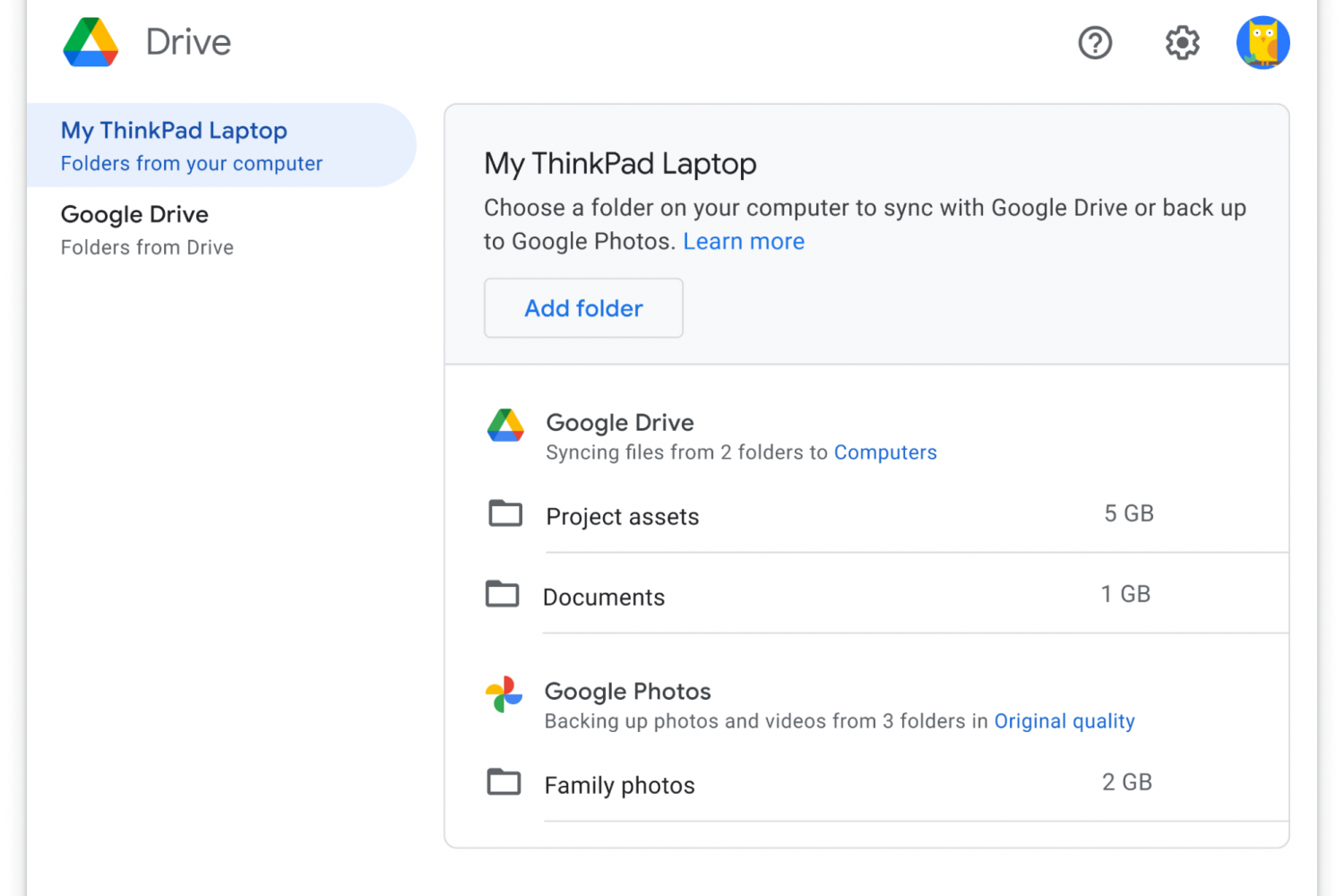 A macOS screenshot showing the Preferences window in the Google Drive desktop client for Mac
