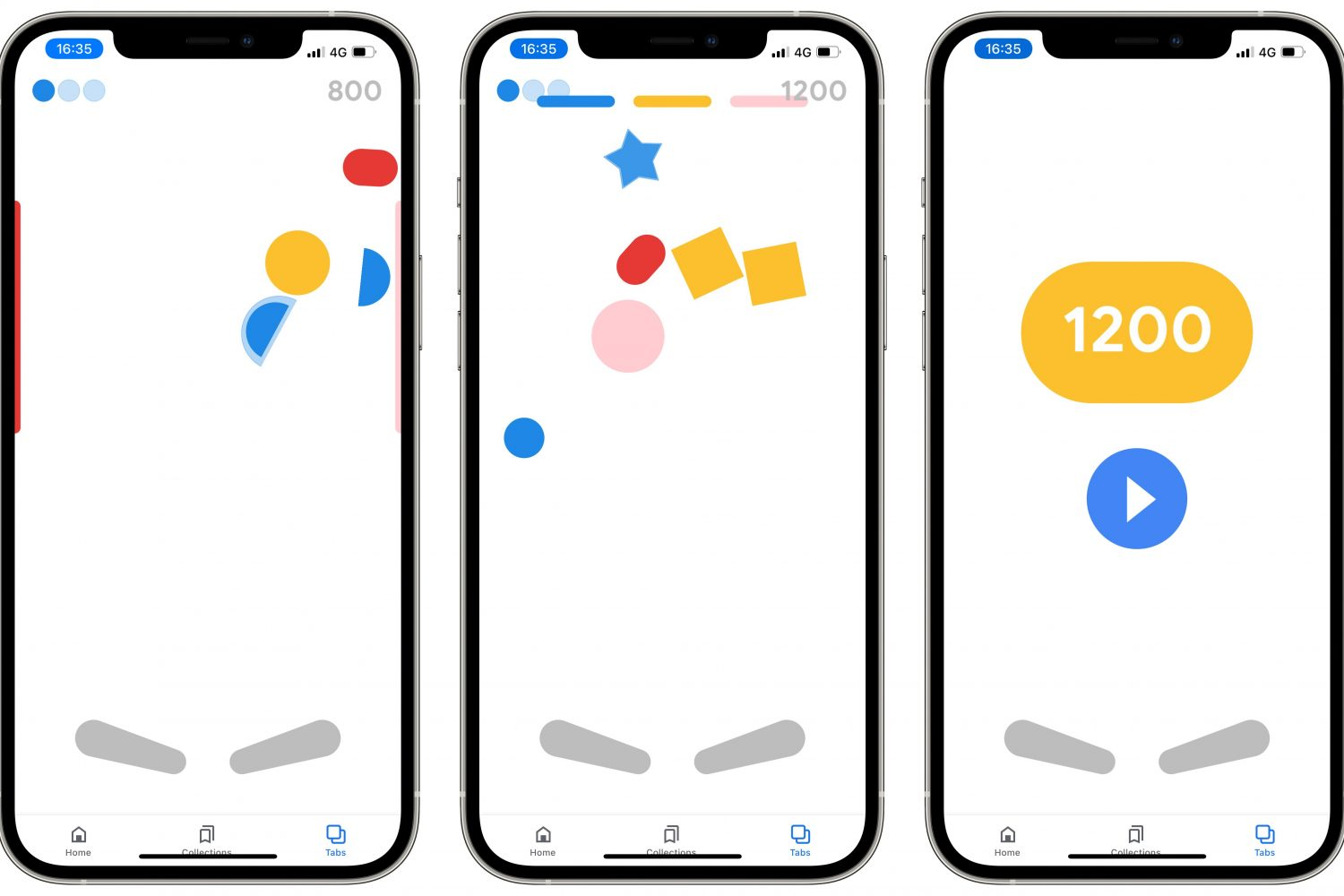 Screenshots showing Google's Easter egg pinball game in its iOS app on iPhone