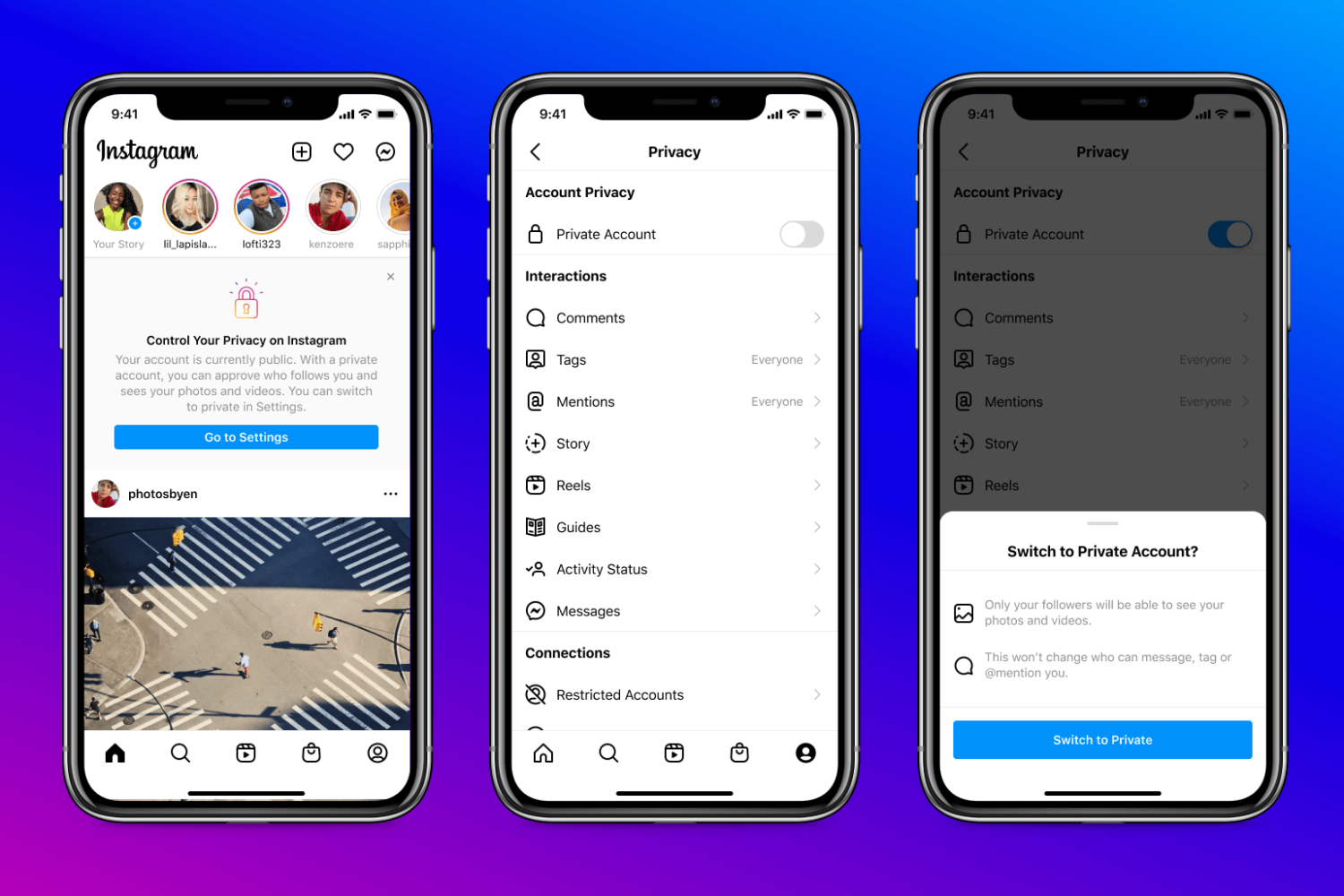 iPhone screenshots showing how to turn an account from public into private