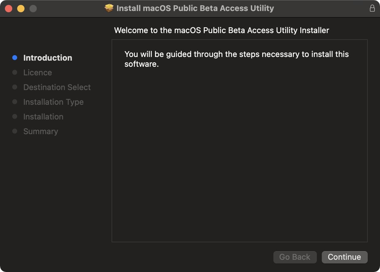Install macOS public beta utility