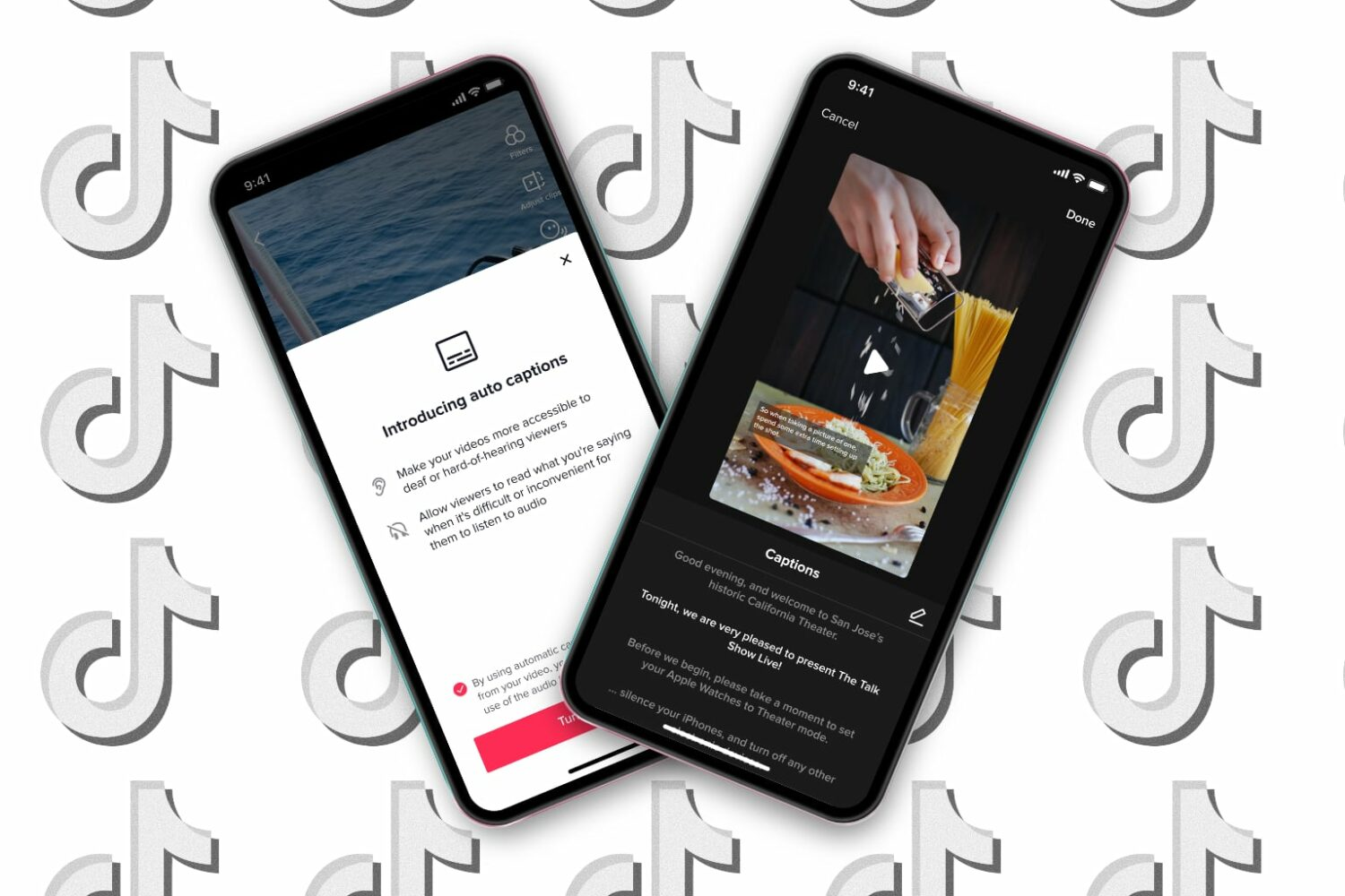 Featured image showing two iPhones showing off TikTok auto captions