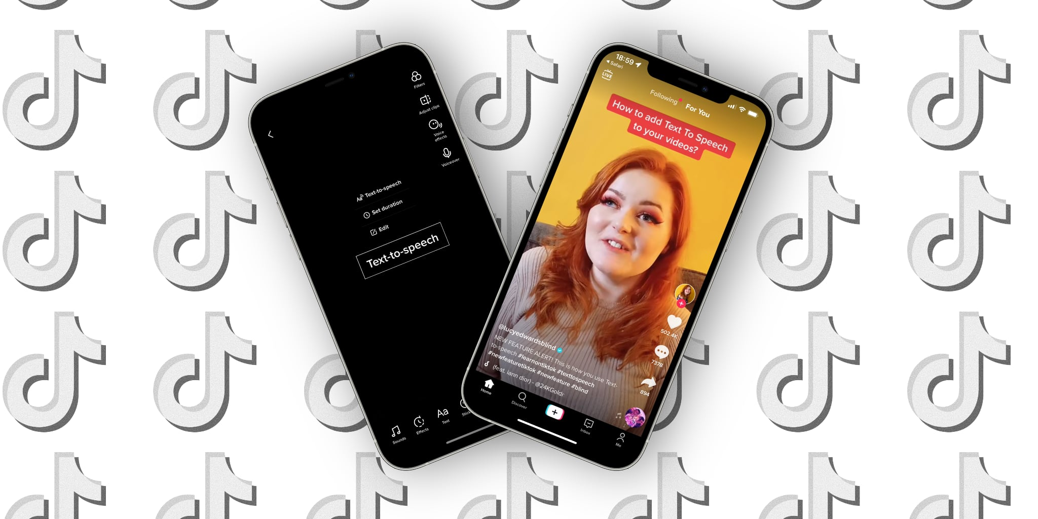 Featured graphics showing two iPhone screenshots of TikTok text-to-speech feature