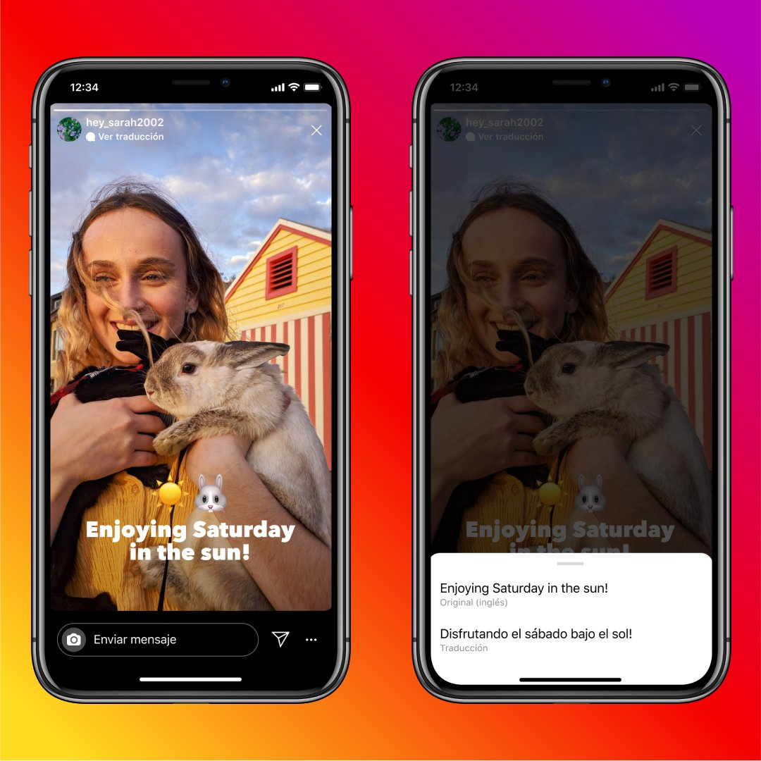 Two screenshots showing how to translate Instagram stories text into English on iPhone