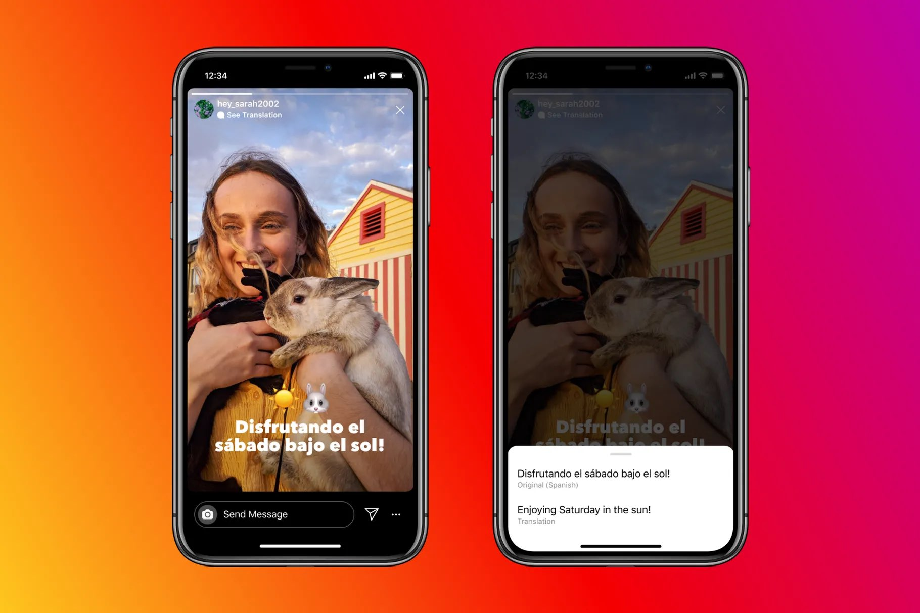 Two screenshots showing how to translate Instagram stories text into Spanish on iPhone
