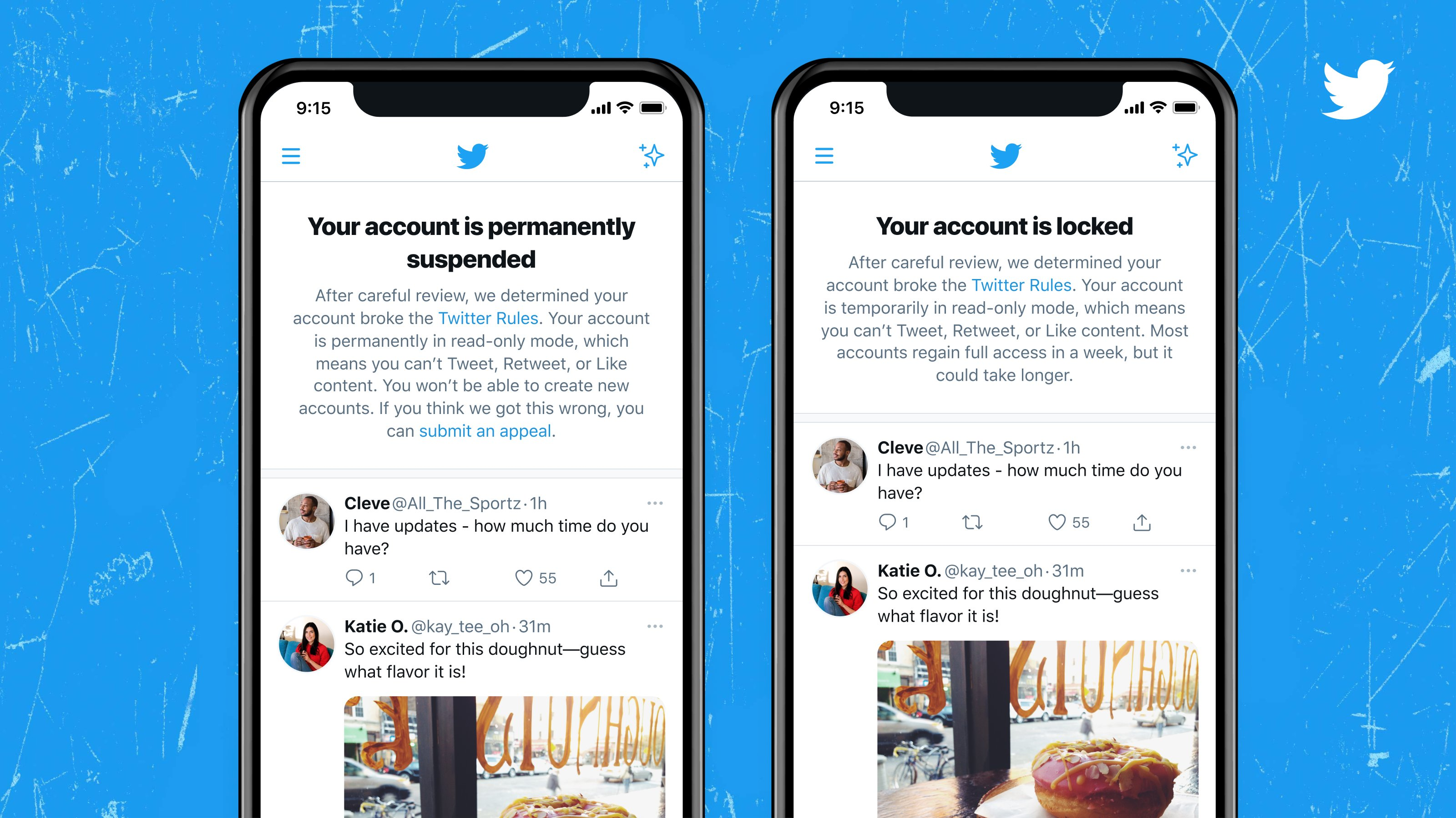 Two iPhone screenshots showing notices in the Twitter app when the account is permanently suspended or locked