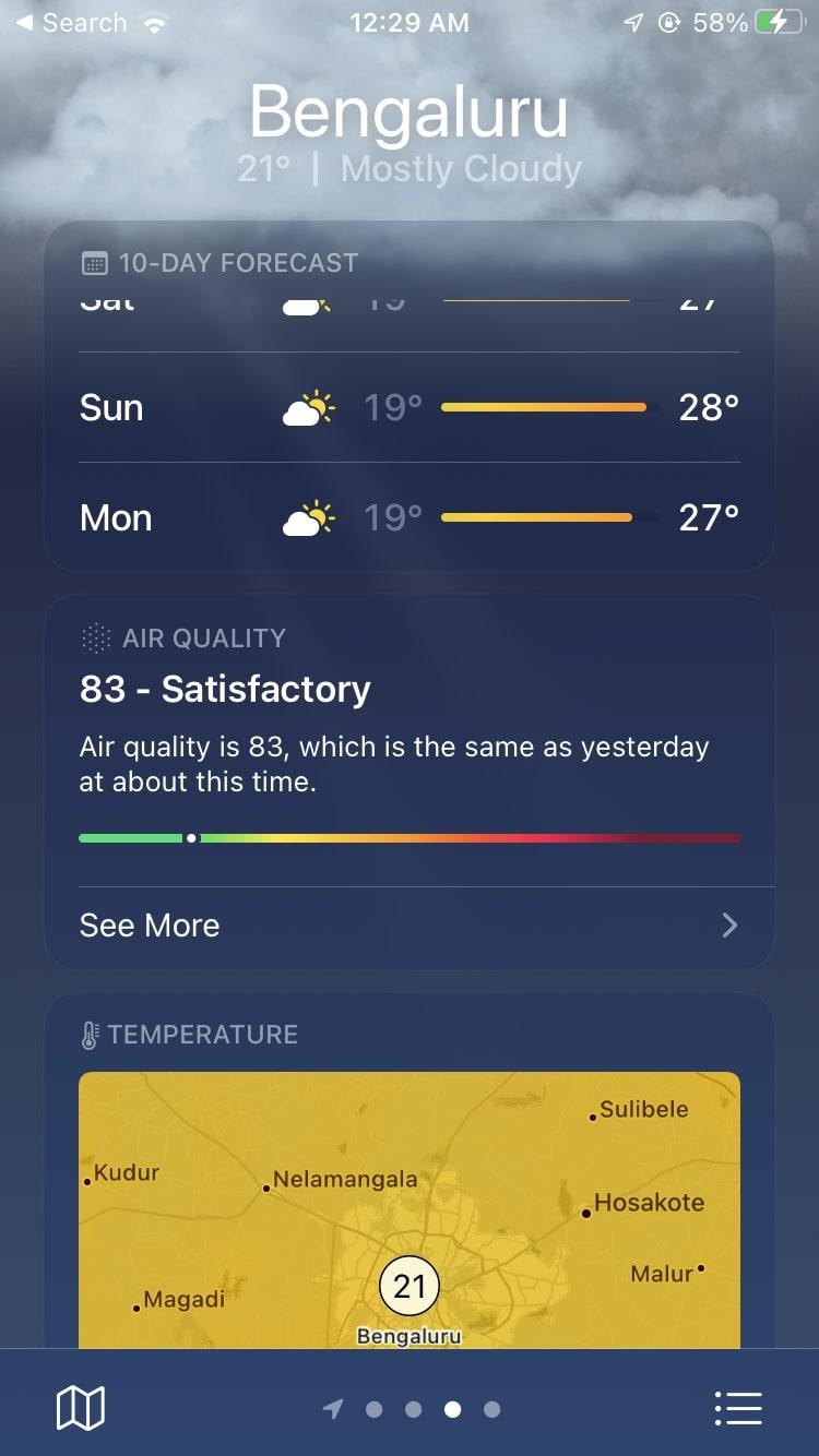 Weather App AQI iPhone