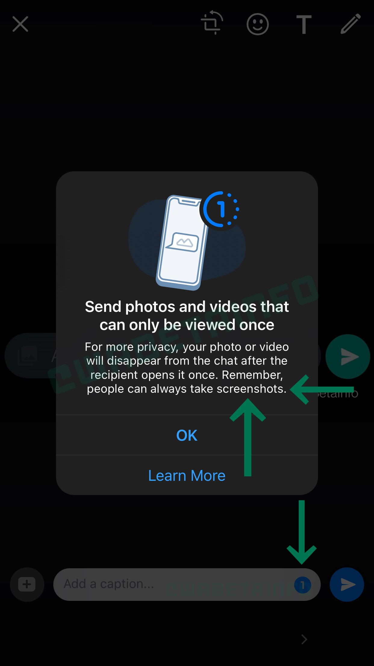 A screenshot showing a splash screen advertising WhatsApp's view-once mode on iPhone