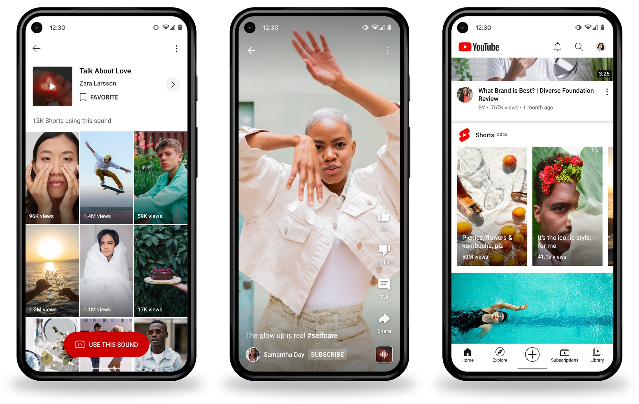 Promotional graphics with YouTube Shorts shown on Google Pixel