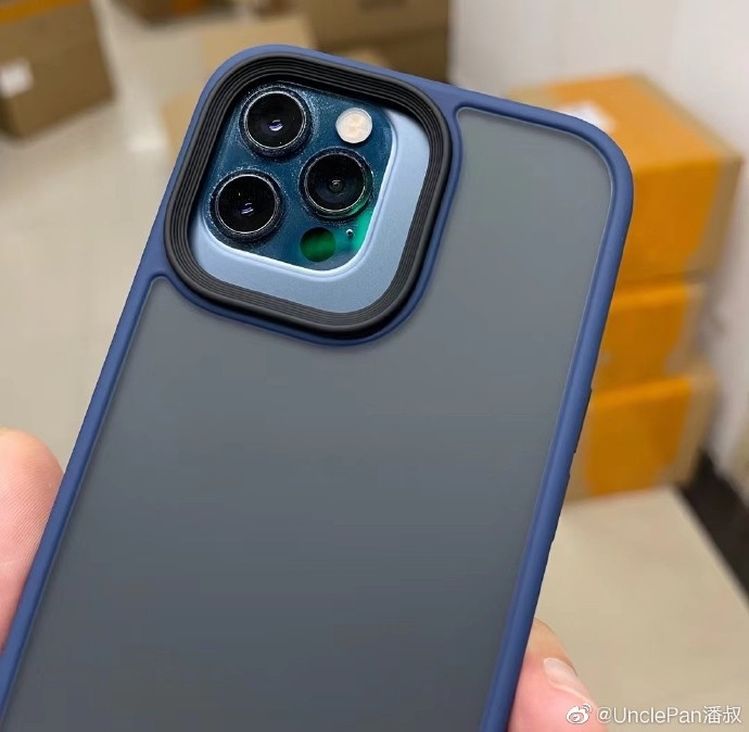 An image showing an iPhone 12 Pro Max in a claimed iPhone 13 Pro Max case, with a much bigger rear camera bump