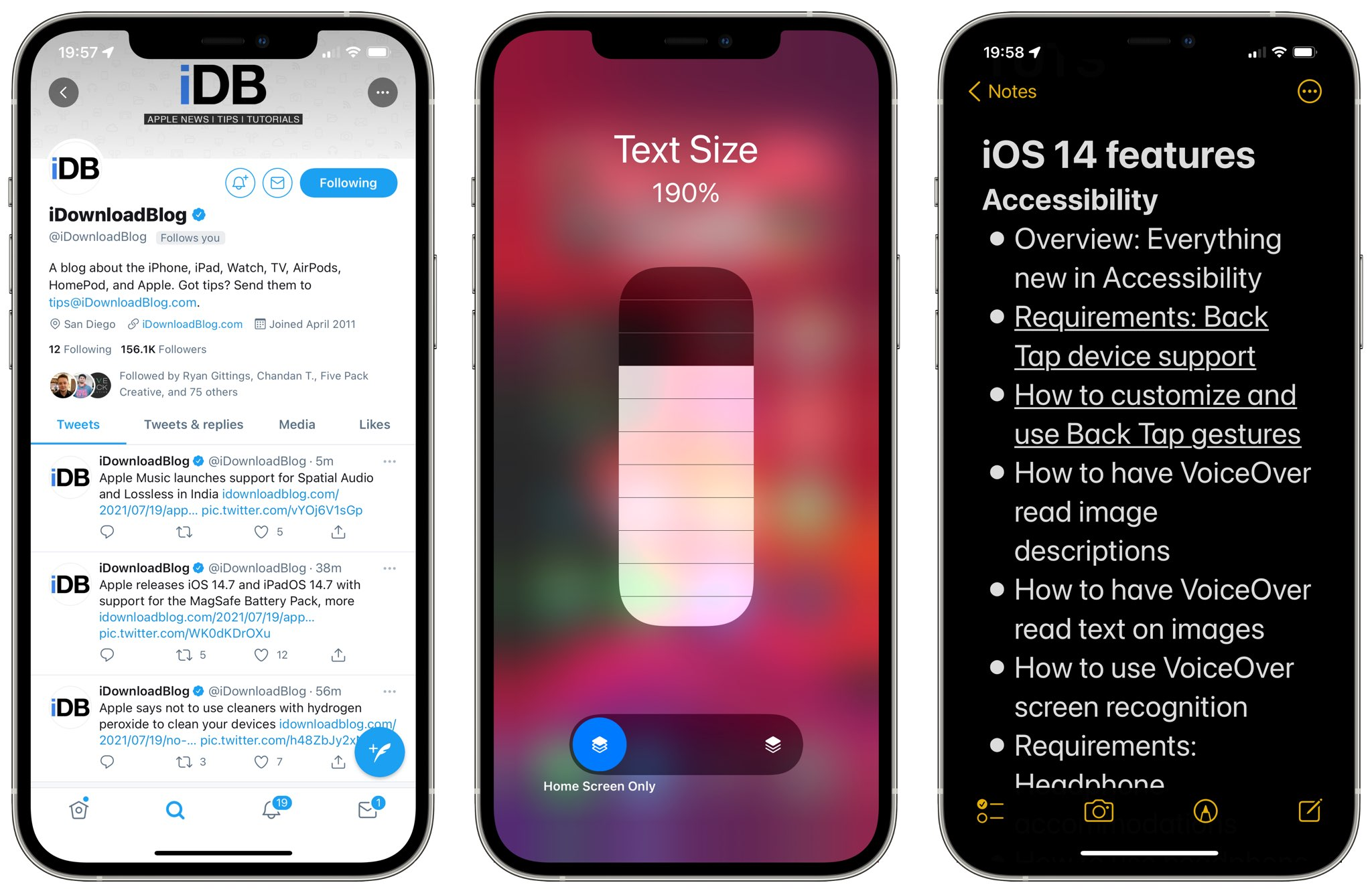 Three screenshots showing changing iPhone text size, from left to right: Twitter, the Text Size slider in Control Center and Apple Notes