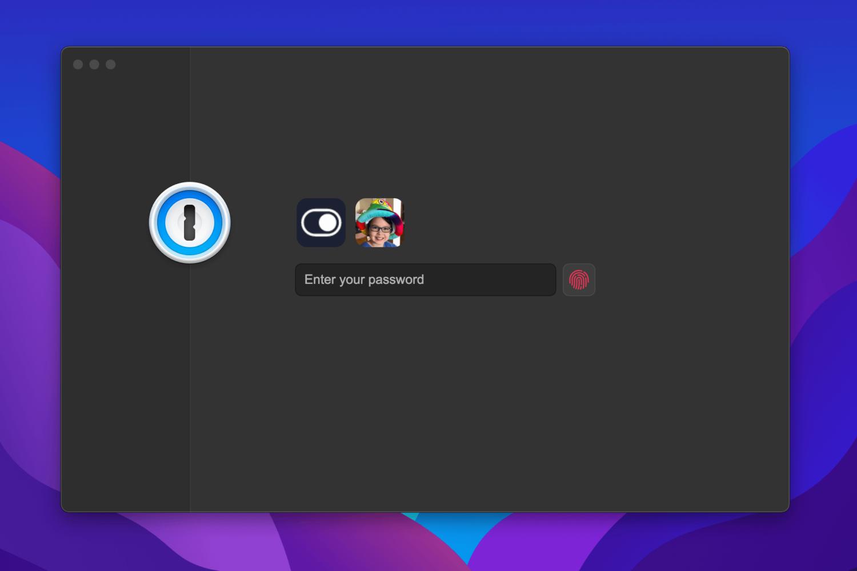 A Mac screenshot showing the redesigned lock screen in 1Password 8 for Mac in Dark Mode