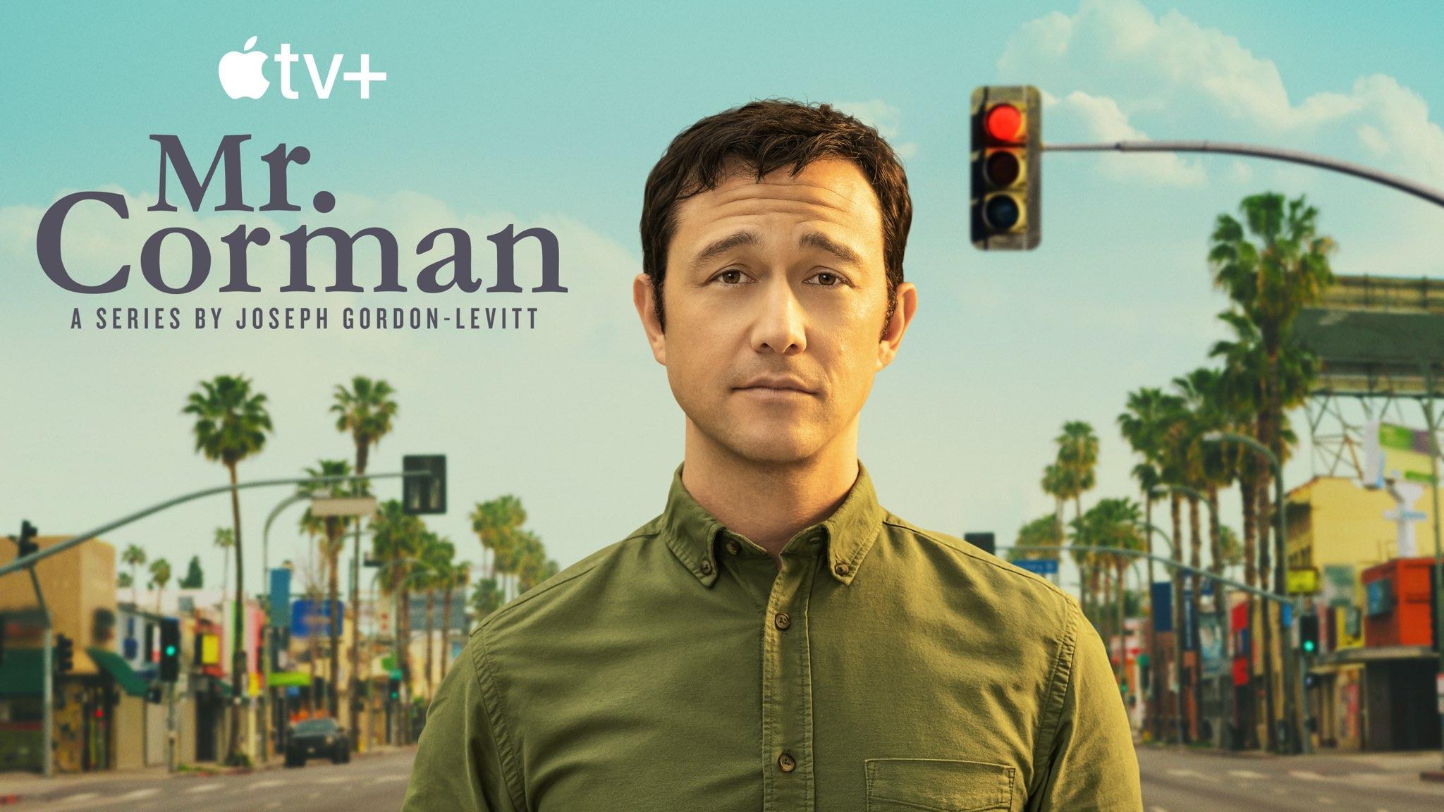 "Poster artwork promoting Apple TV+ dark comedy series ""Mr. Corman"""