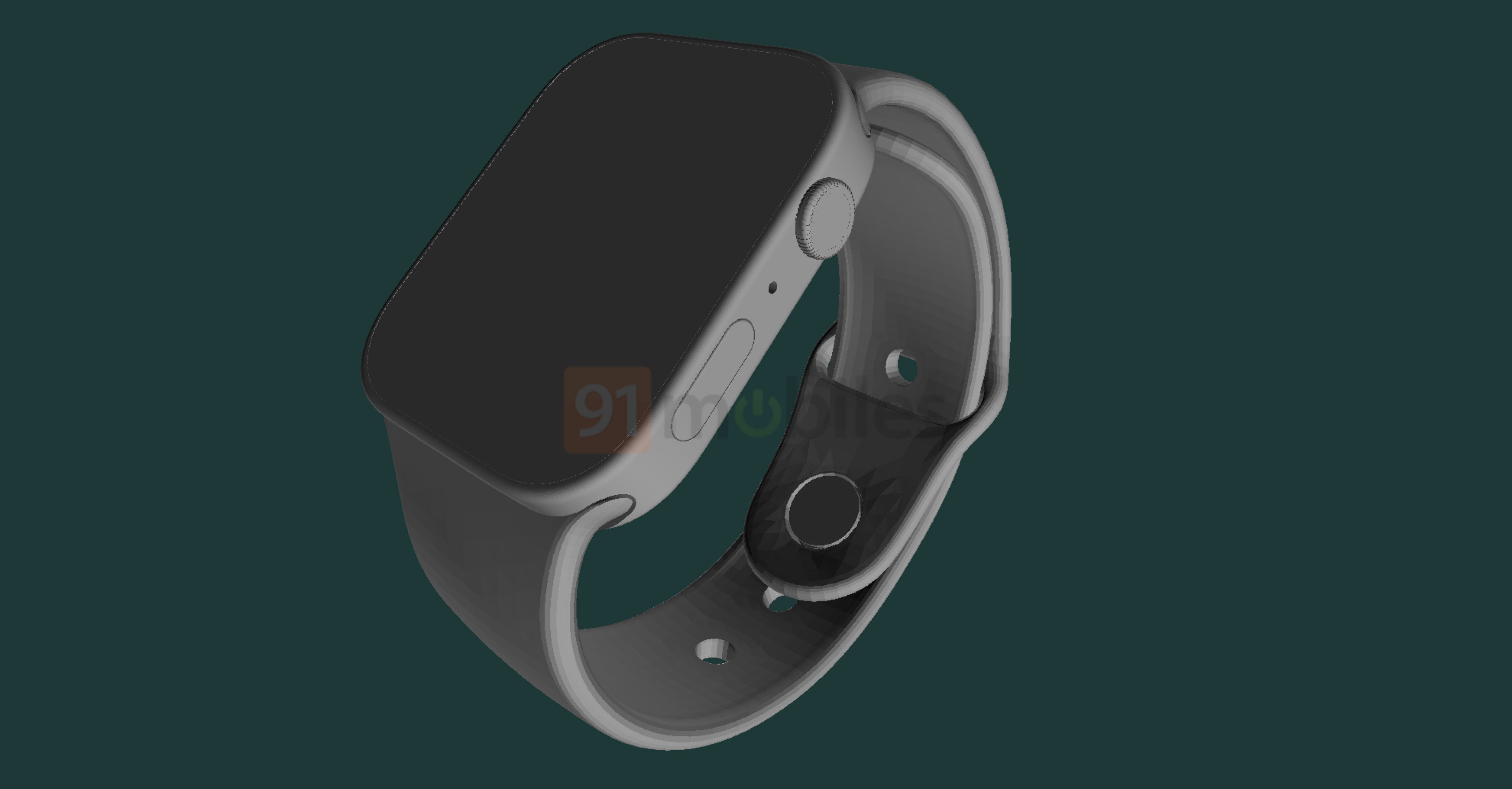A CAD-based render of Apple Watch Series 7 showing the right side with the Digital Crown and Side buttons