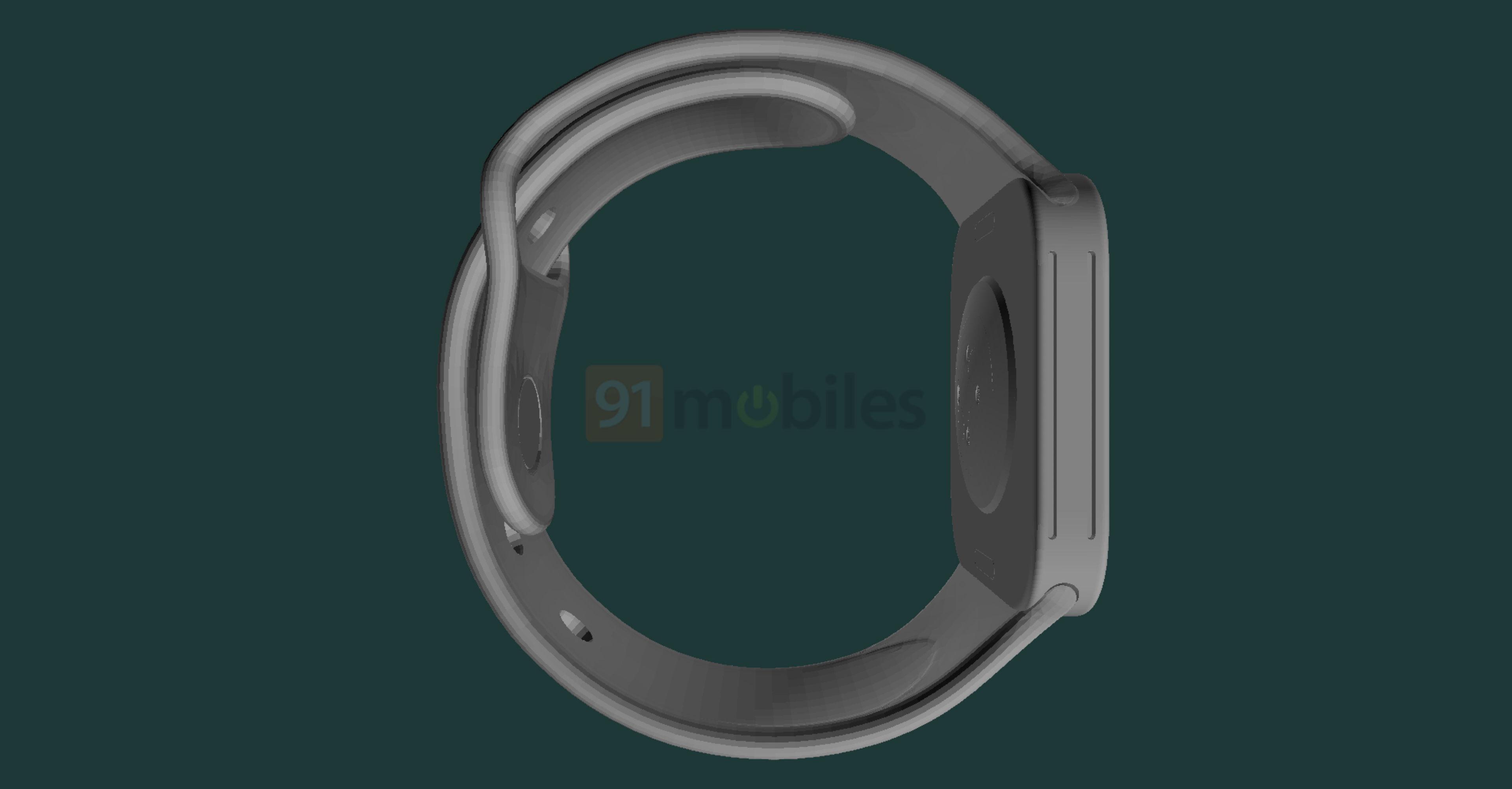 A CAD-based render of Apple Watch Series 7 showing expected design changes like bigger speaker grilles on the left side
