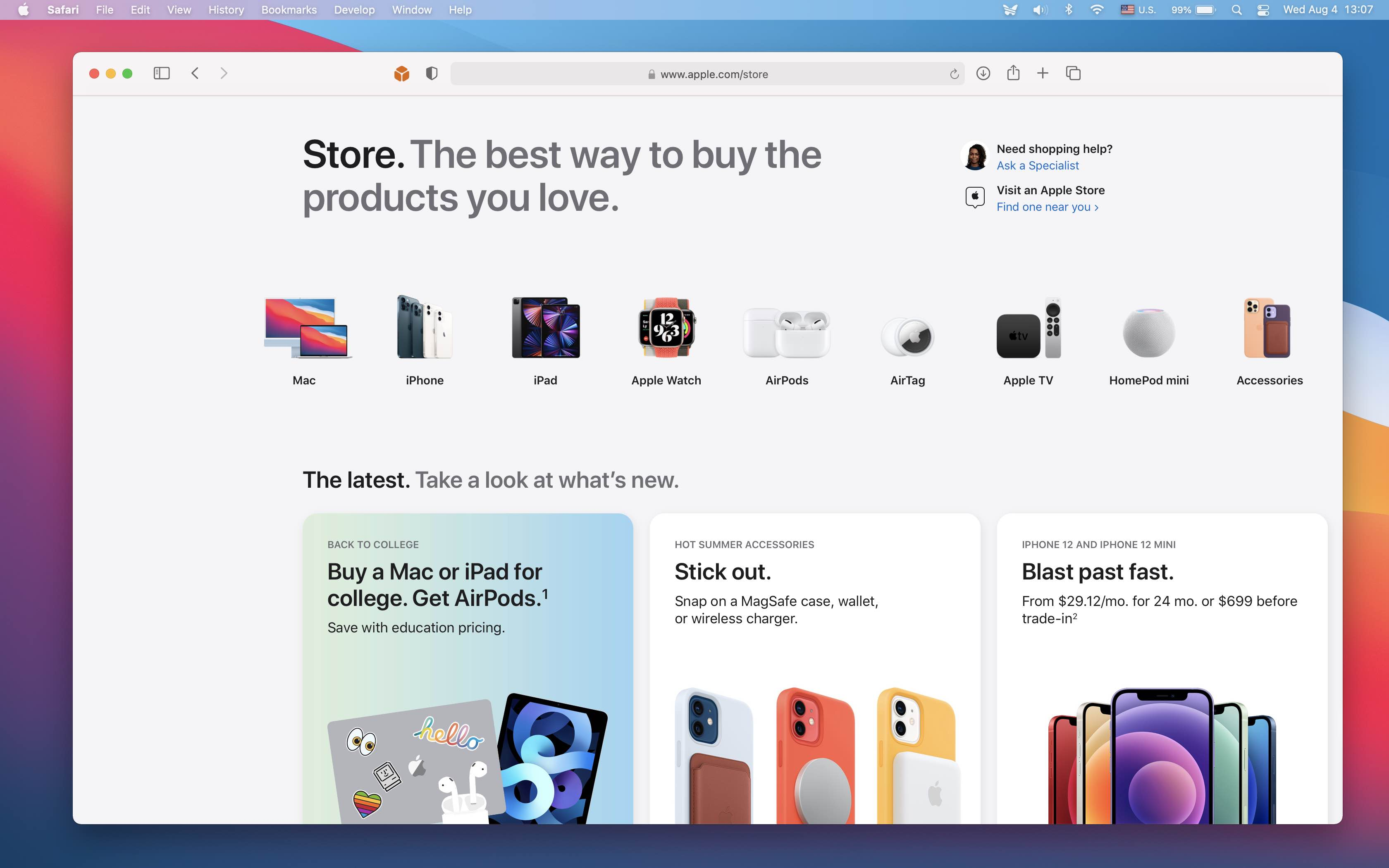 A Safari for Mac screenshot showing the redesigned Apple online store