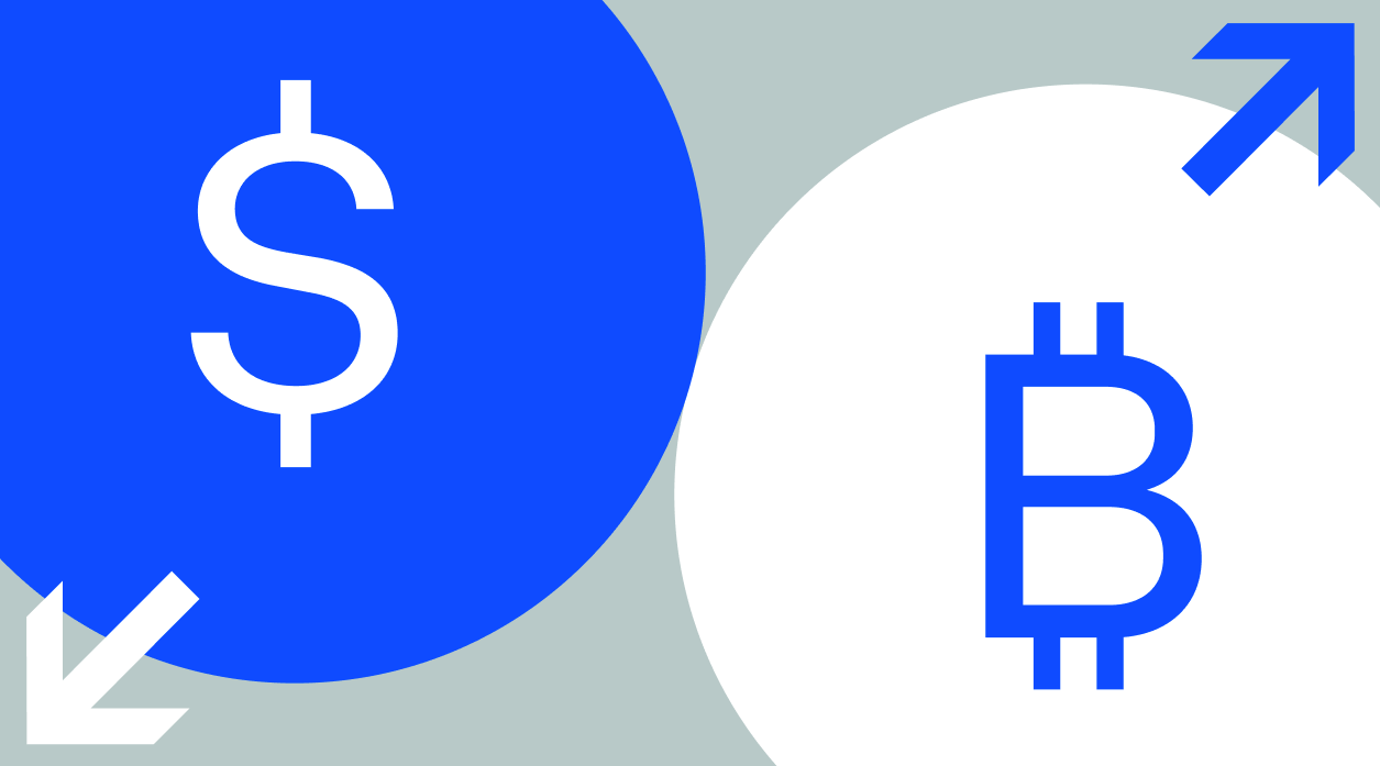 A Coinbase illustration showing the dollar and Bitcoin signs