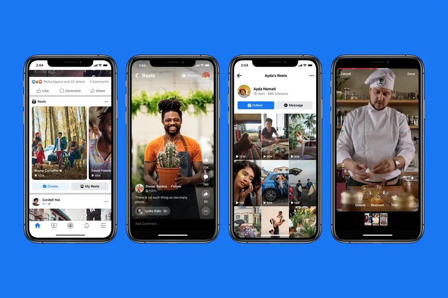 Four iPhone screenshots showcasing Facebook Reels