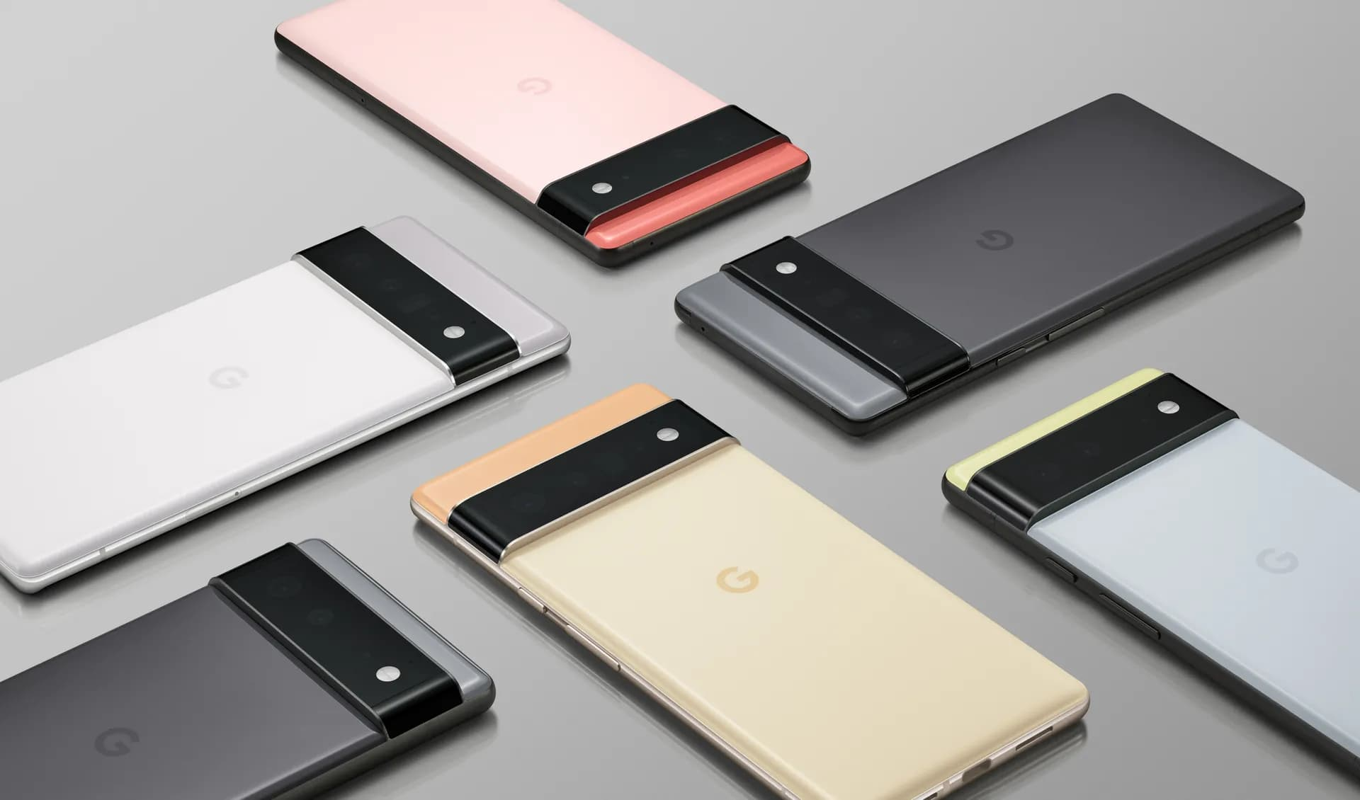 Promotional graphics showcasing Google Pixel 6 and Pixel 6 Pro smartphone lineup