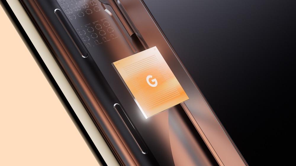 A closeup of Google's cuts Tensor chip in the Pixel 6 smartphone