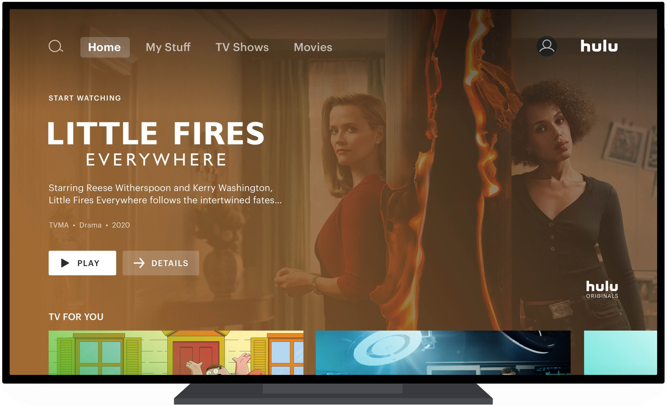 The redesigned Hulu home screen on Apple TV