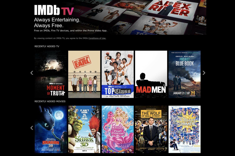 A screenshot of the IMDB TV website