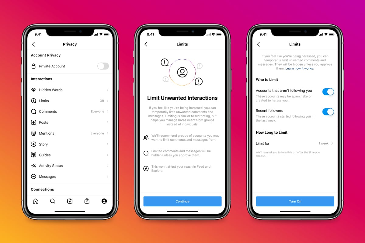 Three iPhone screenshots, left to right: Instagram privacy settings, Instagram Limits and settings for the Limits feature
