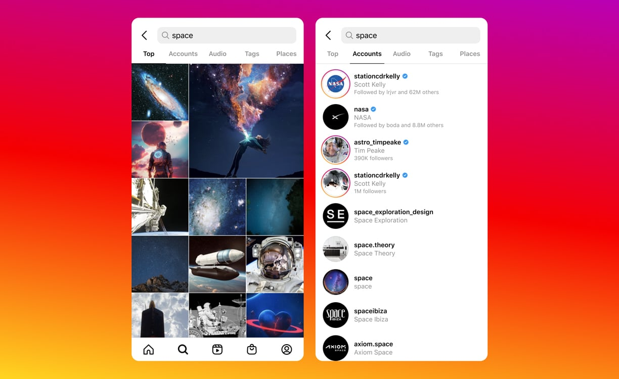 """Two iPhone screenshots showing visual Instagram search results for the term """"space"""""""