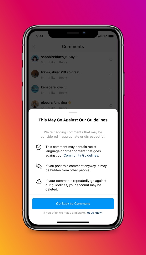 An iPhone screenshot showing Instagram's warning when attempting to post a potentially offensive comment