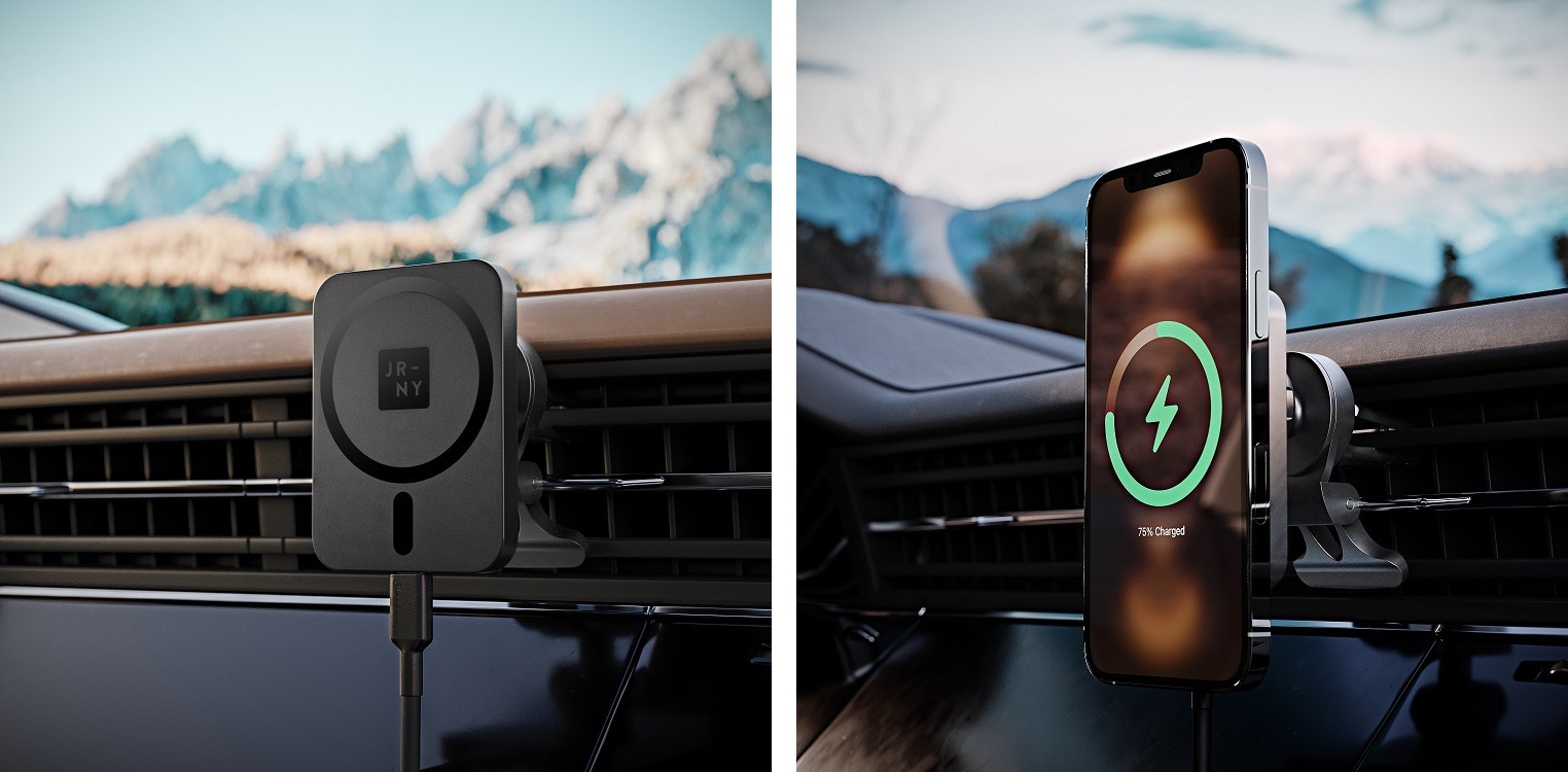 A lifestyle photo depicting Journey's MagSafe-compatible wireless car charger and mount