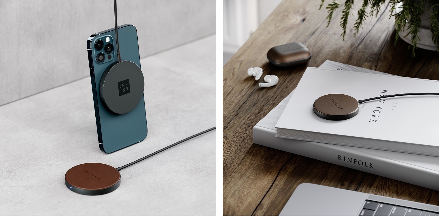 A lifestyle photo depicting Journey's MagSafe-compatible wireless charger swathed in luxurious leather