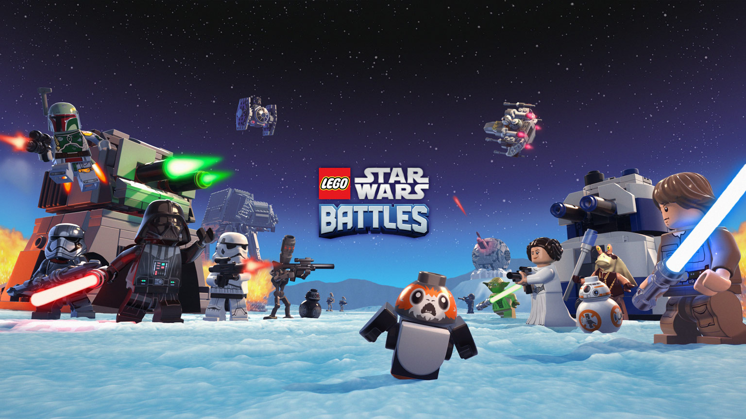 """Hero image for the game """"Lego Star Wars Battles"""""""