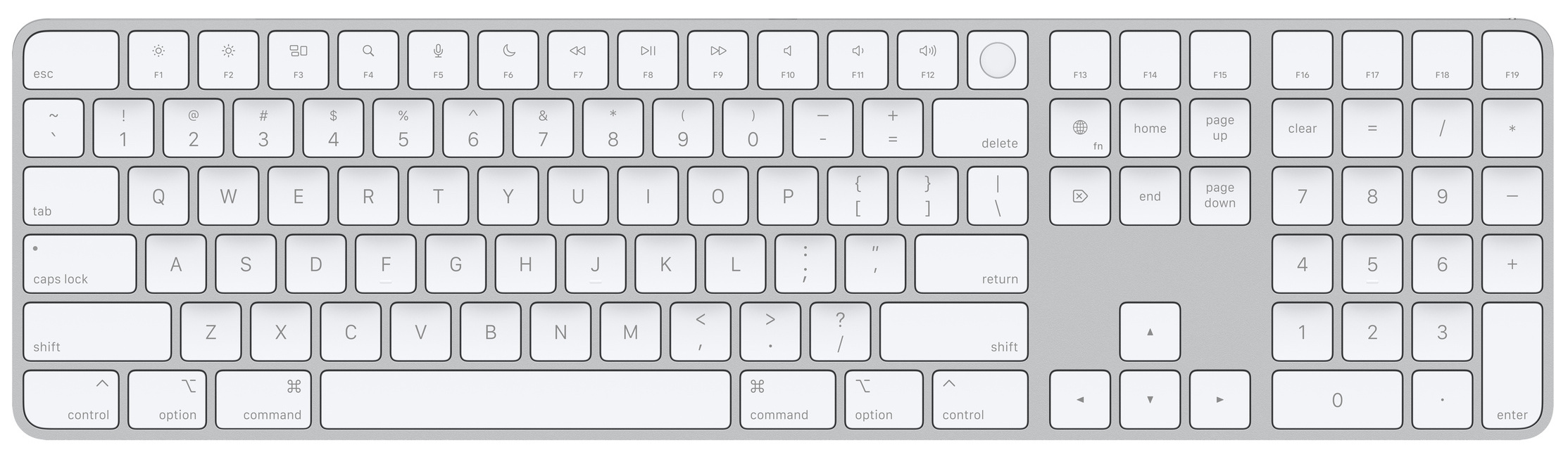 A top-down photo showing Apple's Magic Keyboard with Touch ID for Mac models with Apple silicon