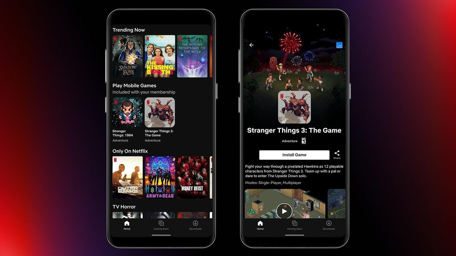 Two iPhone screenshots showing Netflix gaming