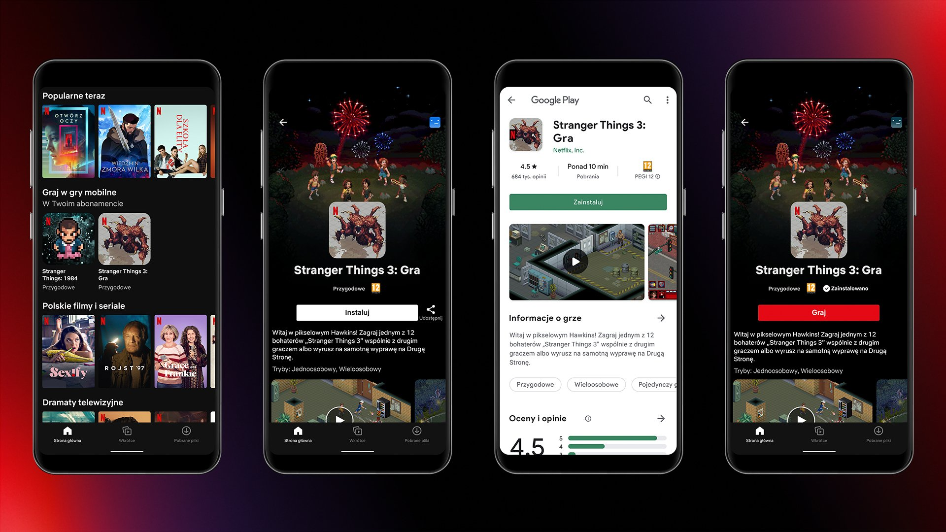 Four iPhone screenshots showing Netflix gaming with Stranger Things titles