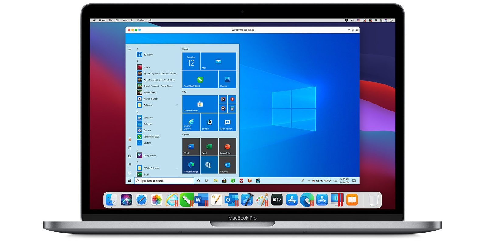 An image showing a MacBook Pro running Windows 11 in macOS Monterey with Parallels Desktop 17