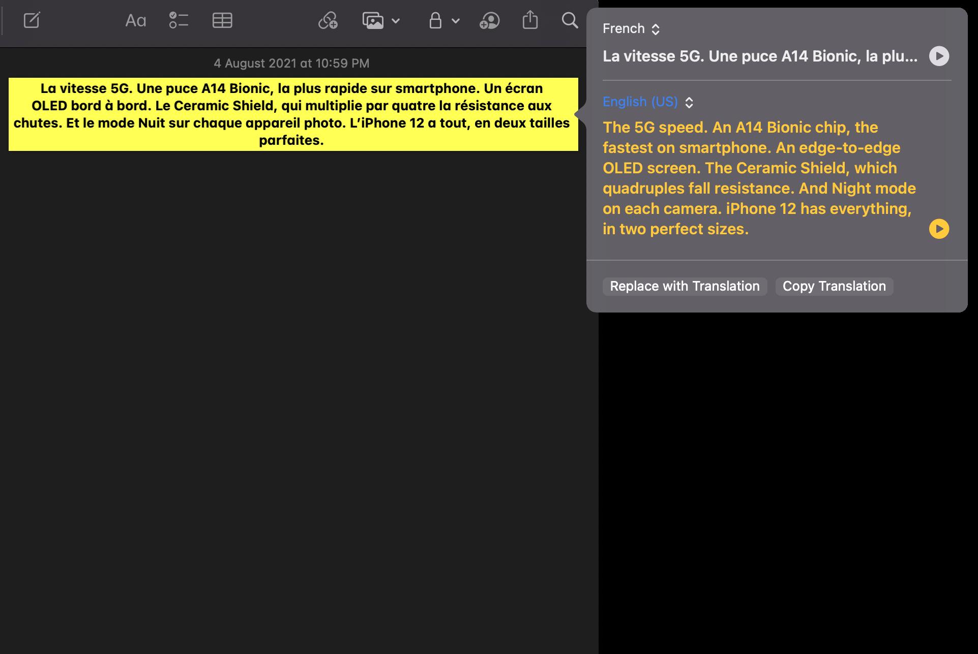 Paste translation macOS 12