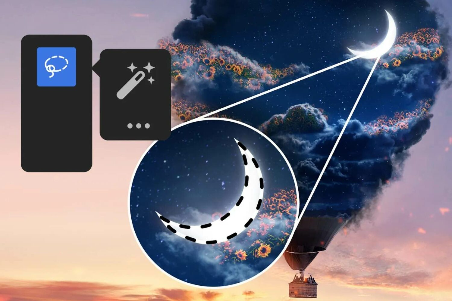 Adobe promotional image showing the Magic Wand tool in Photoshop for iPad