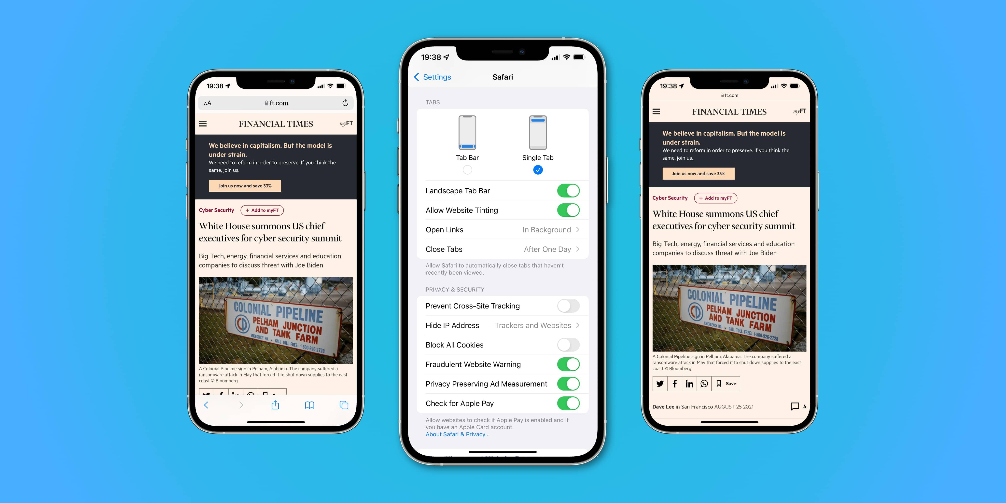 Three iPhone screenshots showing website tinting settings for iOS 15 Safari