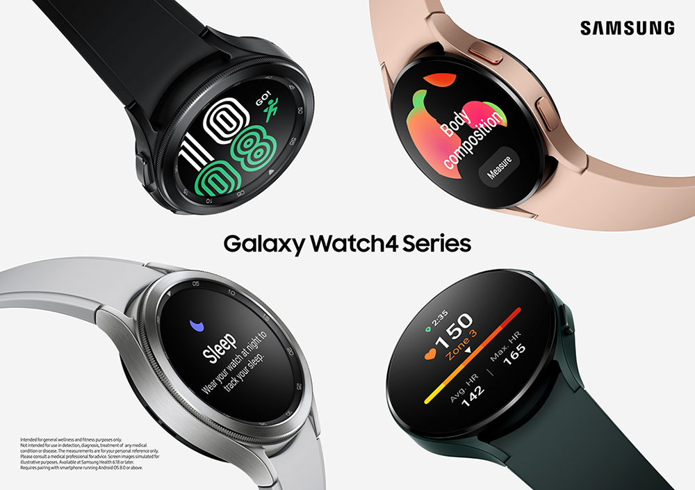 Samsung's promotional image showcasing the Galaxy WAtch 4 and Galaxy Watch 4 Classic models powered by Wear OS