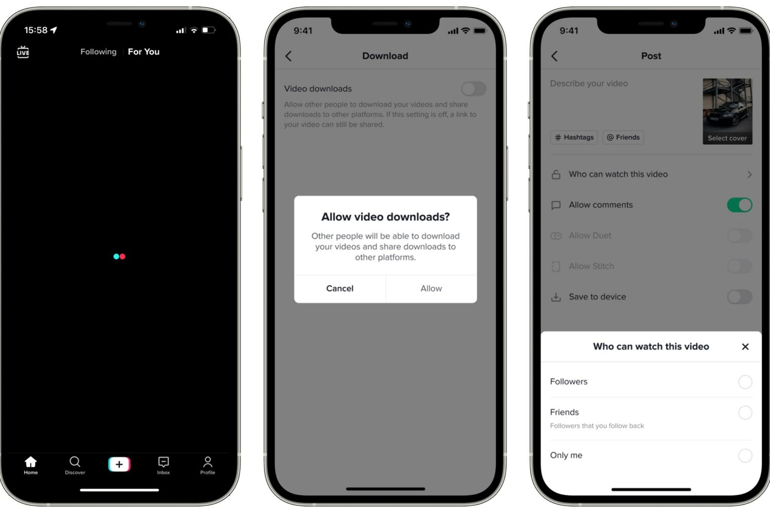 Three iPhone screenshots of TikTok's privacy protections for teens, left to right: TikTok loading screen, video downloads settings and privacy settings related to video viewing